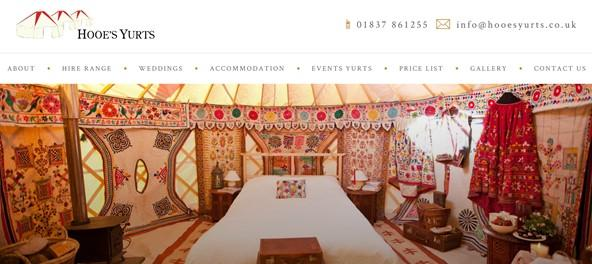 Screenshot of Hooe's Yurts website