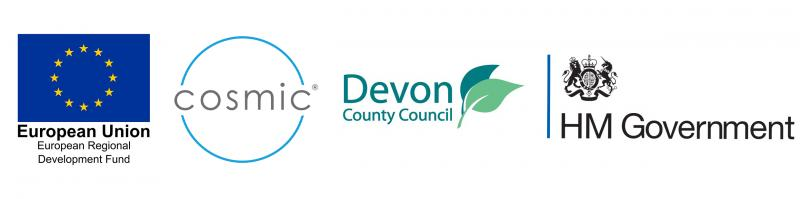 ERDF, Cosmic, Devon County Council and HM Government logos