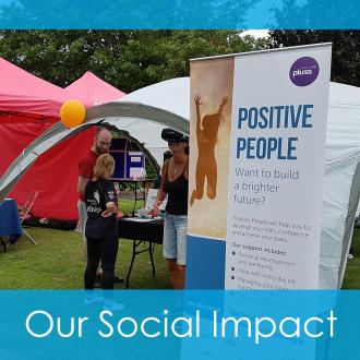 Roller banner with the Positive People logo